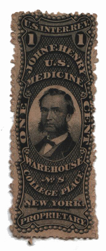 1862 1c Proprietary Medicine Stamp - J.F. Henry, black, watermark 191R