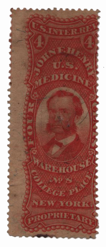 1862 4c Proprietary Medicine Stamp - J.F. Henry, red, silk paper