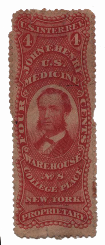 1862 4c Proprietary Medicine Stamp - J.F. Henry, red, watermark 191R