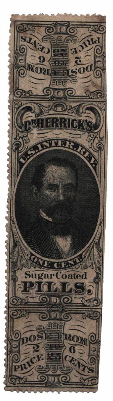 1862 1c Proprietary Medicine Stamp - Herricks Pills, black,watermark 191R