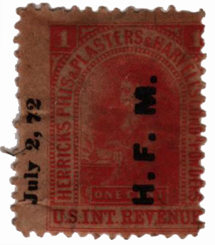 1862 1c Proprietary Medicine Stamp - Herricks Pills & Plasters,  red, silk paper