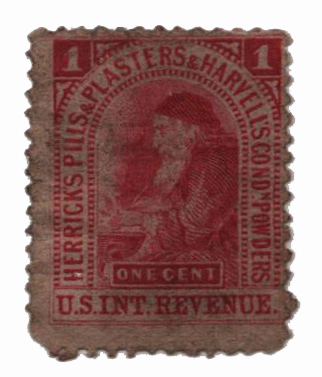 1862 1c Proprietary Medicine Stamp - Herricks Pills & Plasters,  red, watermark 191R
