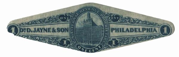 1862 1c Proprietary Medicine Stamp - Dr. D. Jayne & sons, blue, old paper, die cut