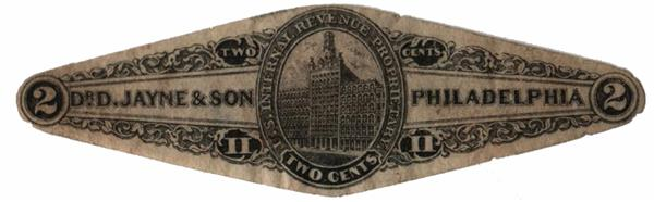 1862 2c Proprietary Medicine Stamp - Dr. D. Jayne & sons, black, old paper, die cut