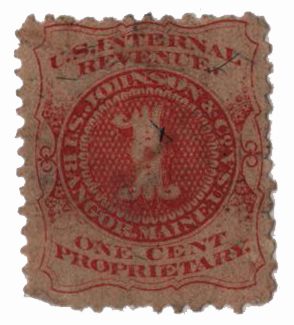 1862 1c Proprietary Medicine Stamp - I.S. Johnson & Co, vermilion, silk paper