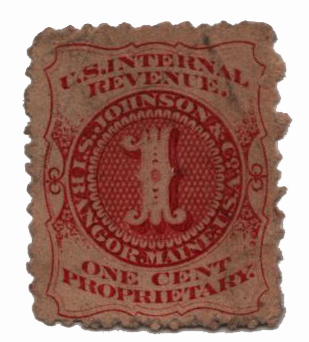 1862 1c Proprietary Medicine Stamp - I.S. Johnson & Co, vermillion, watermark 191R