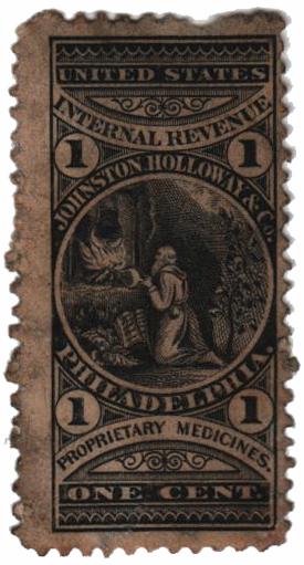 1862 1c Proprietary Medicine Stamp - Johnston Holloway & Co, black, watermark 191R