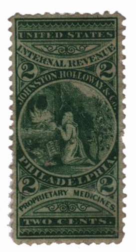 1862 2c Proprietary Medicine Stamp - Johnston Holloway & Co, green, silk paper