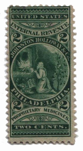 1862 2c Proprietary Medicine Stamp - Johnston Holloway & Co, green, watermark 191R