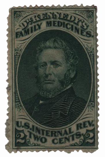 1862 2c Proprietary Medicine Stamp - Dr. Kennedy, green, watermark 191R