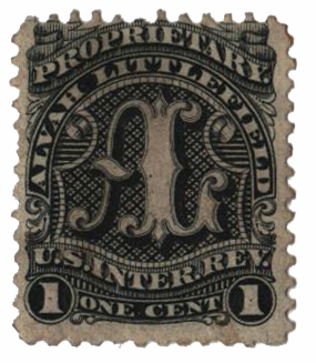 1862 1c Proprietary Medicine Stamp - Alvah Littlefield, black, old paper