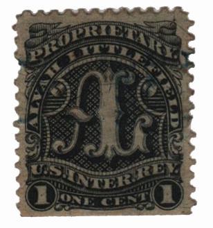 1862 1c Proprietary Medicine Stamp - Alvah Littlefield, black, silk paper