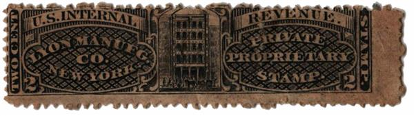 1862 2c Proprietary Medicine Stamp - Lyon Manufg Co, black, watermark 191R