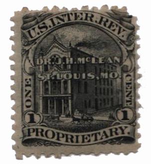 1862 1c Proprietary Medicine Stamp - Dr. J.H. McLean, black, silk paper