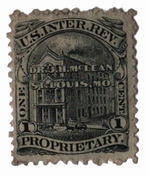 1862 1c Proprietary Medicine Stamp - Dr. J.H. McLean, black, watermark 191R