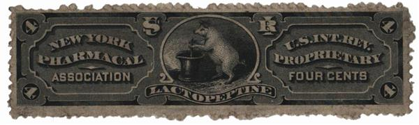 1862 4c Proprietary Medicine Stamp - New York Pharmacal Association, black, watermark 191R