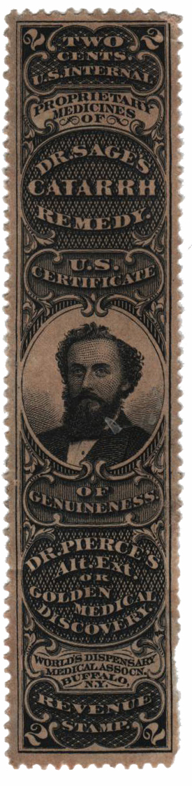 1862 2c Proprietary Medicine Stamp - R.V. Pierce, black, watermark 191R
