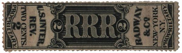 1862 2c Proprietary Medicine Stamp - Radway & Co, black, old paper