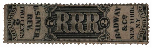 1862 2c Proprietary Medicine Stamp - Radway & Co, black, silk paper