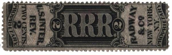 1862 2c Proprietary Medicine Stamp - Radway & Co, black, watermark 191R