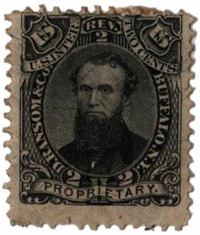 1862 2c Proprietary Medicine Stamp - D. Ransom & Co, black, silk paper