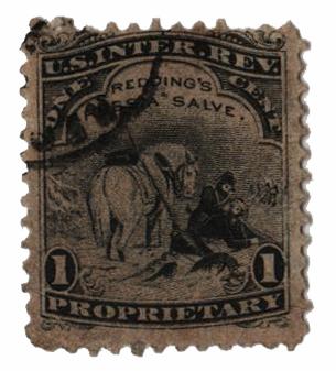 1862 1c Proprietary Medicine Stamp - black silk paper