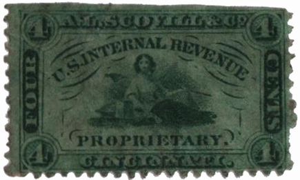 1862 4c Proprietary Medicine Stamp - green