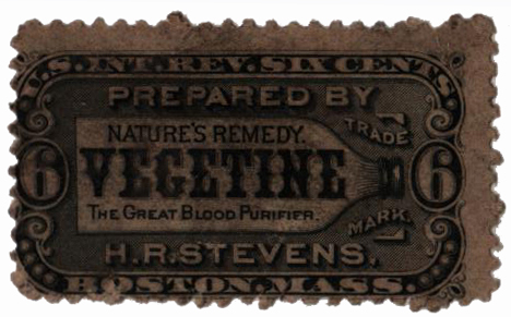 1862 6c Proprietary Medicine Stamp - black, watermark 191R