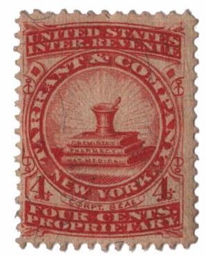 1862 4c Proprietary Medicine Stamp - red,silk paper,Tarrant&Co.