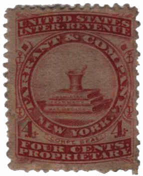 1862 4c Proprietary Medicine Stamp - red, watermark 191R
