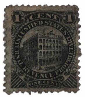 1862 1c Proprietary Medicine Stamp - black, silk paper