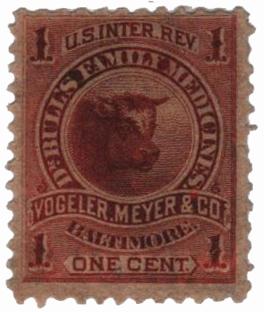 1862 1c Proprietary Medicine Stamp - vermilion