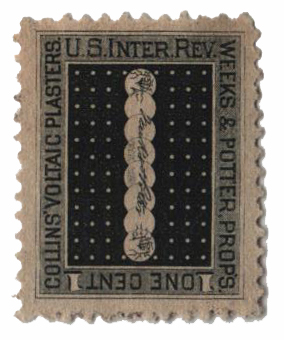 1862 1c Proprietary Medicine Stamp - blk,dl wmk, Weeks&Potter
