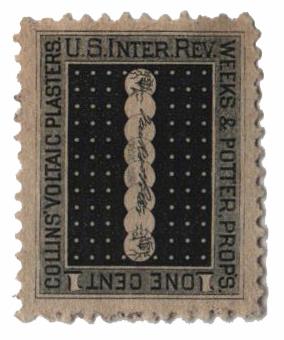 1862 1c Proprietary Medicine Stamp - blk,dl wmk, Weeks&Potter