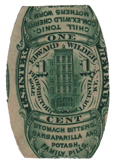 1862 1c Proprietary Medicine Stamp - green, watermark 191R