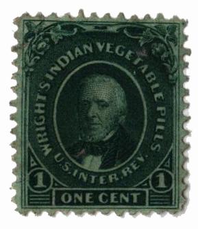1871-77 1c Proprietary Medicine Stamp - green, silk paper