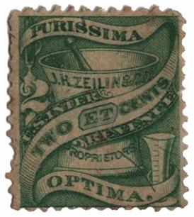 1862 2c Proprietary Medicine Stamp - green