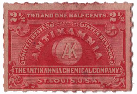 1898-1900 2 1/2c Proprietary Medicine Stamp - carmine