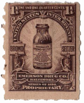 1898-1900 1 1/4c Proprietary Medicine Stamp - violet brown