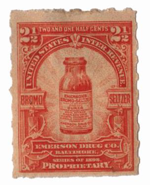 1898-1900 2 1/2c Proprietary Medicine Stamp - brown orange