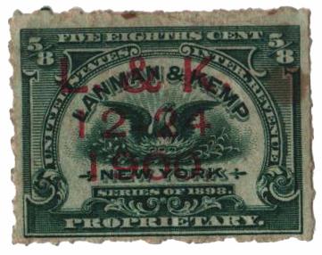 1898-1900 5/8c Proprietary Medicine Stamp - green, Hyphen Hole