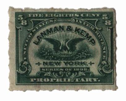 1898-1900 5/8c Proprietary Medicine Stamp - green