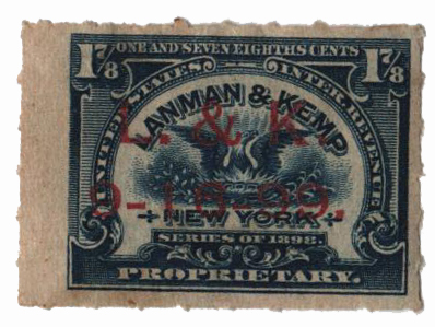1898-1900 1 7/8c Proprietary Medicine Stamp - blue
