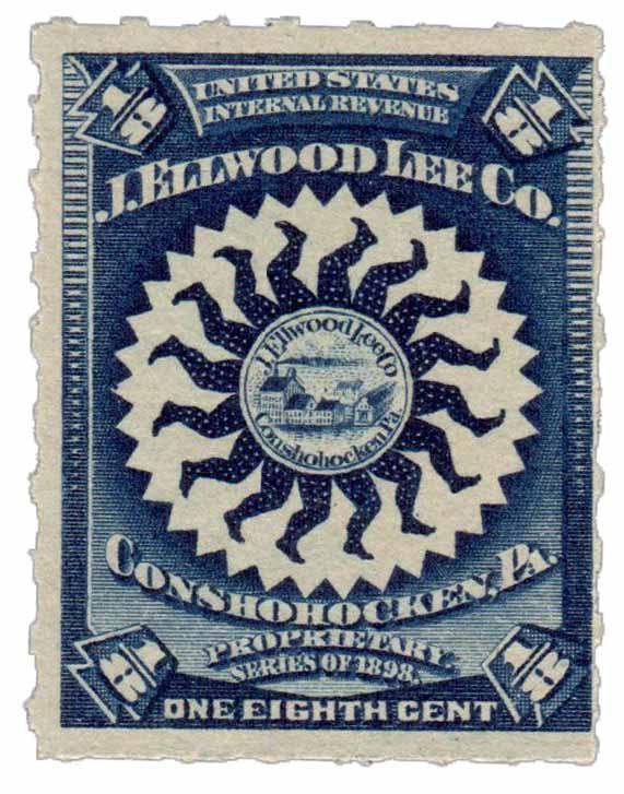 1898-1900 1/8c Proprietary Medicine Stamp - dk blue, Hyphen Hol