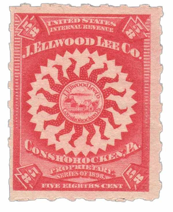1898-1900 5/8c Proprietary Medicine Stamp - carmine, Hyphen Hole