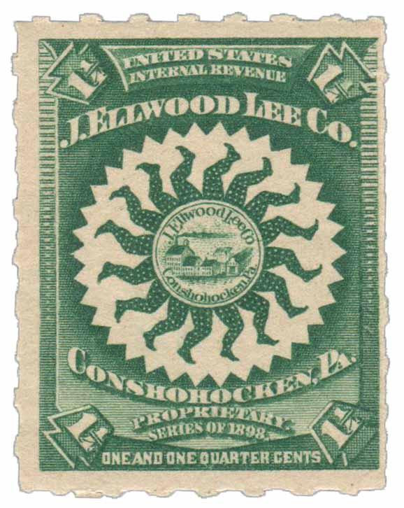 1898-1900 1 1/4c Proprietary Medicine Stamp - dk green, Hyphen