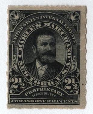 1898-1900 2 1/2c Proprietary Medicine Stamp - black, Hyphen Hole