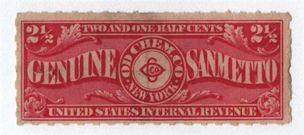 1898-1900 2 1/2c Proprietary Medicine Stamp - carmine, Hyphen Hole