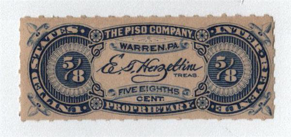 1898-1900 5/8c Proprietary Medicine Stamp - blue, Hyphen Hole
