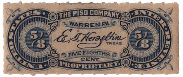 1898-1900 5/8c Proprietary Medicine Stamp - blue, roulette 5 1/2